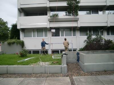 Fenster-Einbau in 21. Etage des Olympischen  Pressezentrums in München