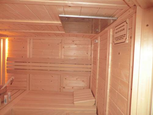 Sauna mit Brandschutzplatte